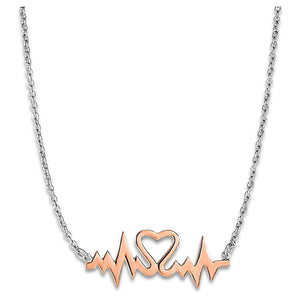 Two Toned Heartbeat Motif Necklace In Sterling Silver Necklaces
