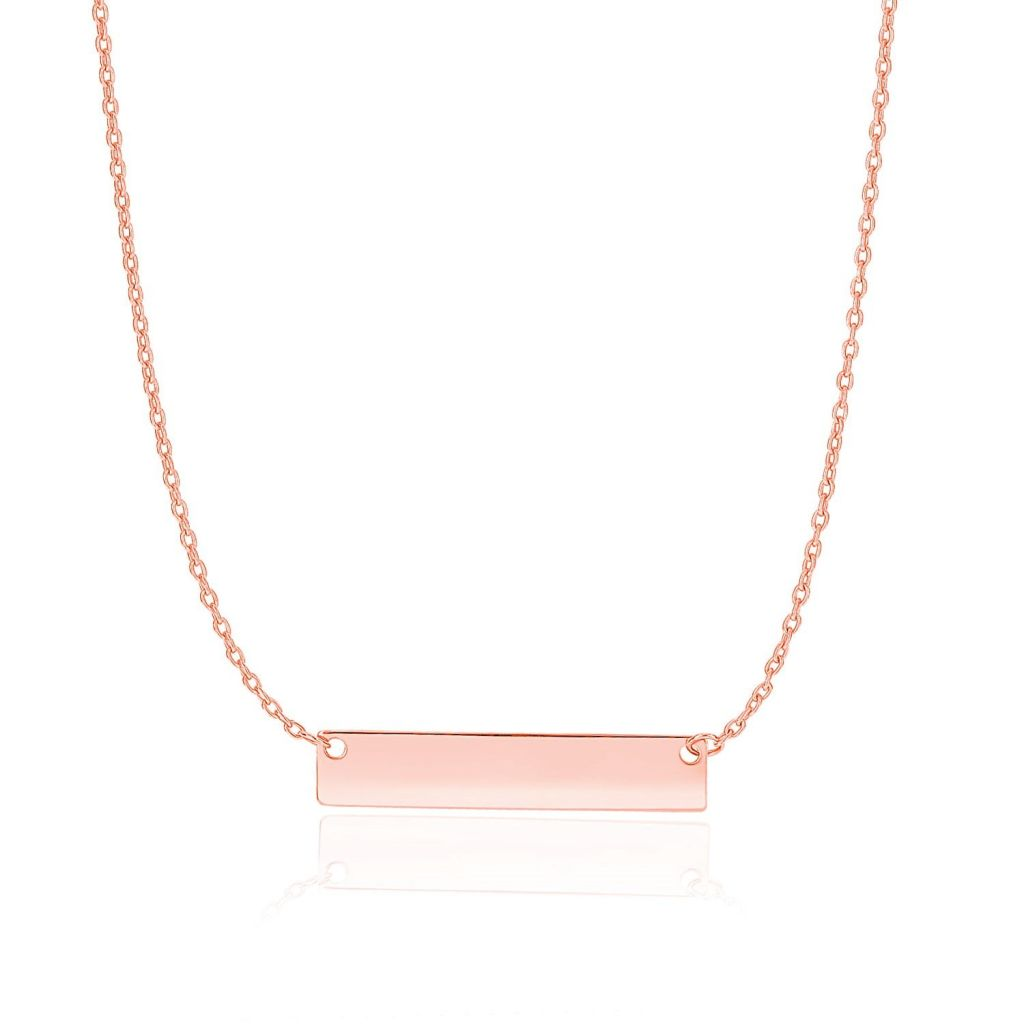 14K Rose Gold Smooth Flat Horizontal Bar Style Necklace Select Size / Gold Necklaces