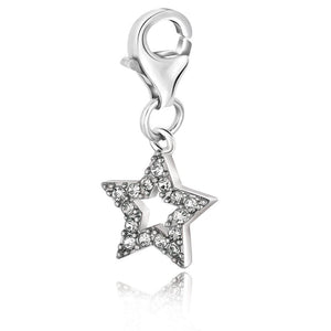 Sterling Silver Star Charm With White Tone Crystal Embellishments Silver Charms
