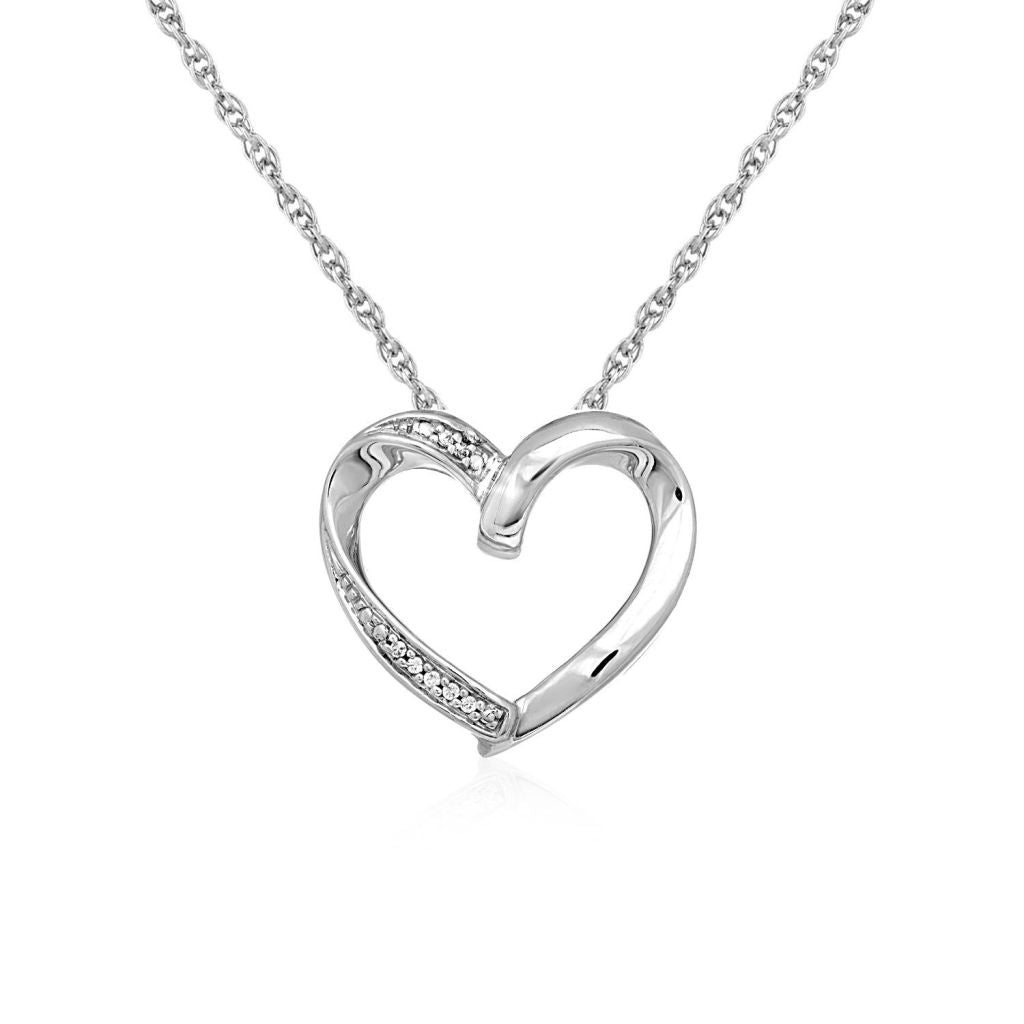 Open Heart Pendant With Diamonds In Sterling Silver Select Size / Silver Pendants