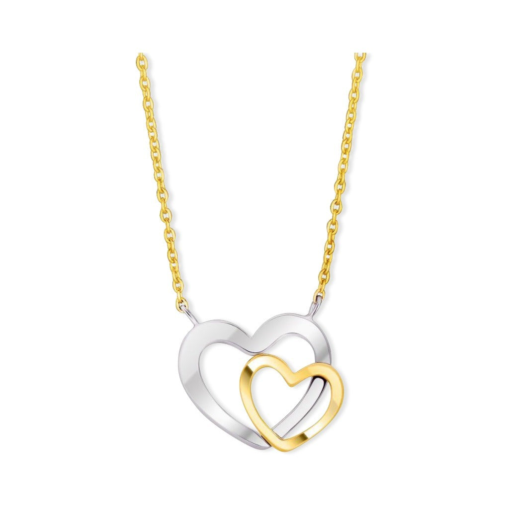 14K Two-Tone Gold Double Heart Necklace Select Size / White And Yellow Gold Necklaces