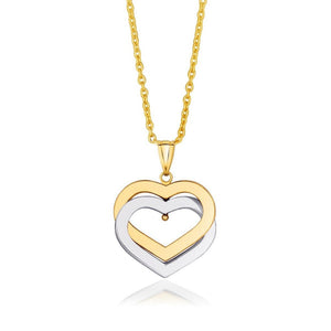 14K Two-Tone Gold Intertwined Hearts Pendant Select Size / White And Yellow Gold Pendants