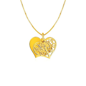 Two Layer Heart Shaped Tree Pendant In 14K Yellow Gold Pendants