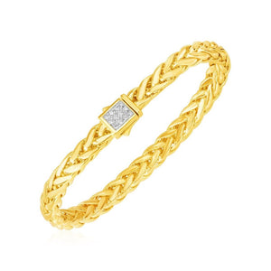 Polished Woven Rope Bracelet With Diamond Accented Clasp In 14K Yellow Gold Select Size / Gold Bracelets