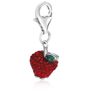 Sterling Silver Red And Green Tone Crystal Accented Charm In Silver Charms