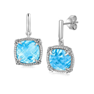 Sky Blue Topaz And White Sapphire Earrings
