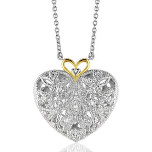 Sterling Silver And 14K Yellow Gold Filigree Heart Pendant With Diamond Accent Select Size / Gold Sterling Silver Pendants