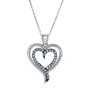 Sterling Silver Double Heart Pendant With Blue Topaz Select Size / Silver Pendants