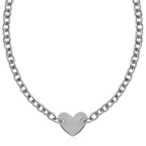 Sterling Silver Rhodium Plated Chain Bracelet With A Flat Heart Motif Station Select Size / Silver Necklaces