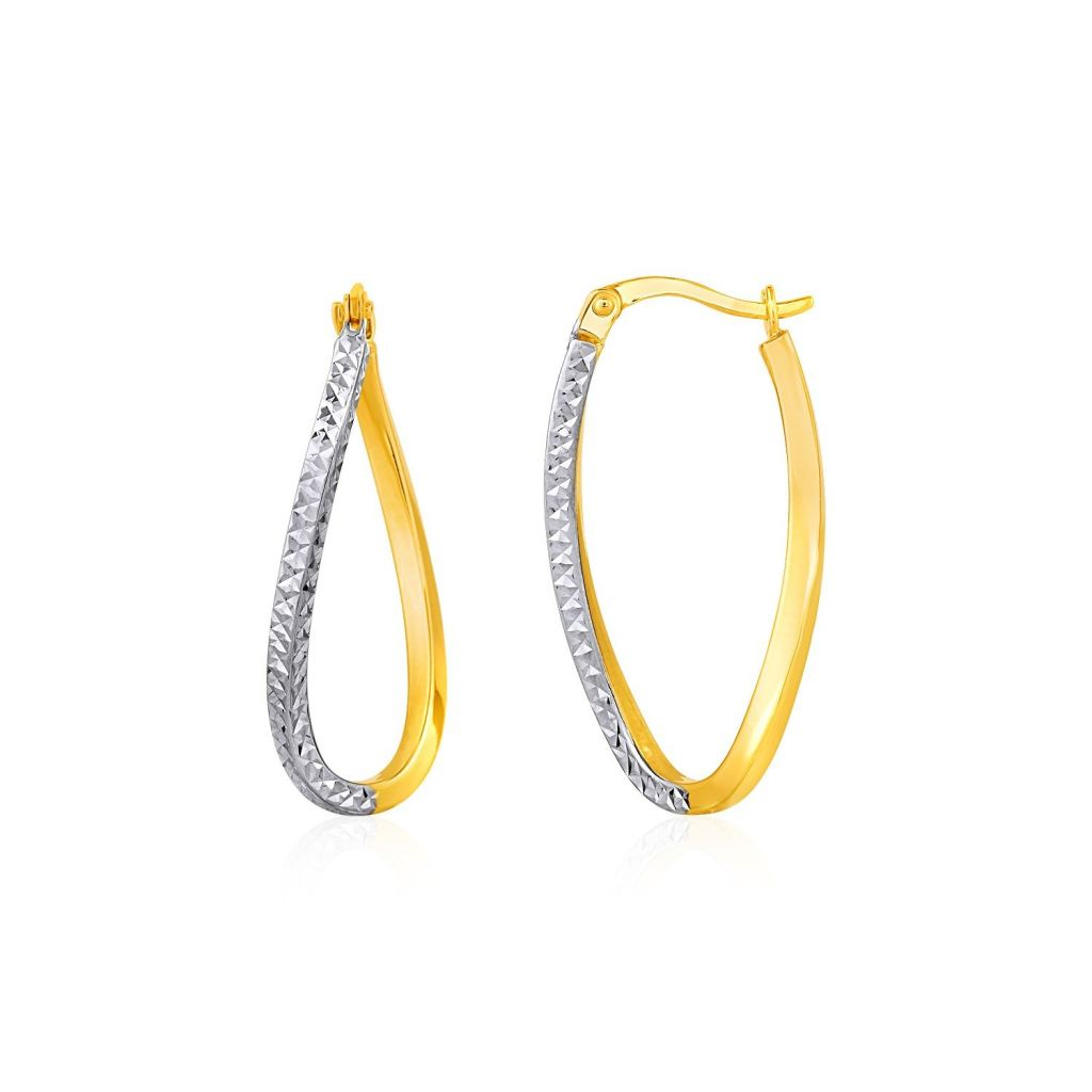 Two-Tone Textured Twisted Oval Hoop Earrings In 10K Yellow And White Gold Yellow Gold