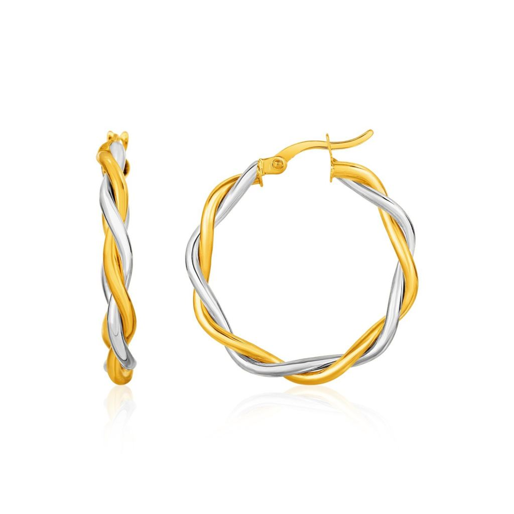 Two-Tone Twisted Wire Round Hoop Earrings In 10K Yellow And White Gold Yellow Gold