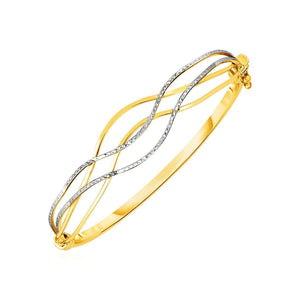 Wave Motif Hinged Bangle In 10K Two Tone Gold Select Size / White And Yellow Gold Bangles