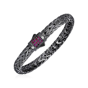 Woven Rope Bracelet With Raspberry Pink Sapphire And Black Finish In Sterling Silver Select Size / Silver Bracelets
