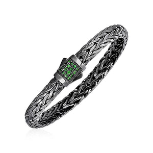 Woven Rope Bracelet With Tsavorite And Black Finish In Sterling Silver Select Size / Silver Bracelets