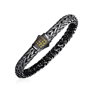 Woven Rope Bracelet With Yellow Sapphire And Black Finish In Sterling Silver Select Size / Silver Bracelets