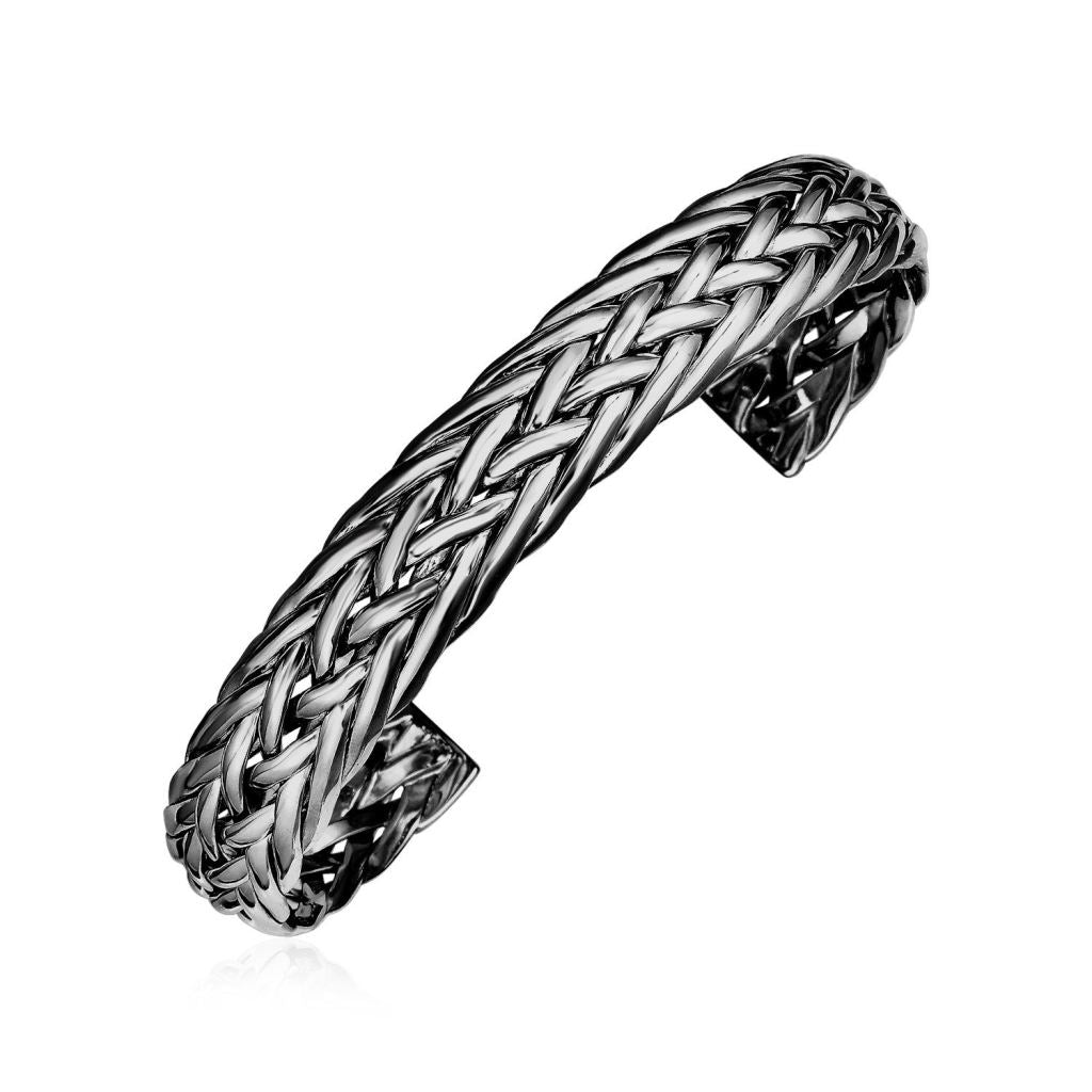 Woven Rope Cuff Bangle With Black Finish In Sterling Silver Silver Bangles