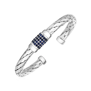 Woven Rope Cuff Bracelet With Blue Sapphire Accents In Sterling Silver Bangles