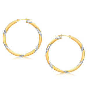 14K Two Tone Gold Polished Hoop Earrings (30 Mm) White And Yellow Gold