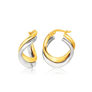 14K Two Tone Gold Earrings In Fancy Double Twist Style White And Yellow Gold