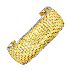 Wide Cuff Bangle With Basket Weave Texture In 14K Yellow And White Gold Yellow Gold Bangles