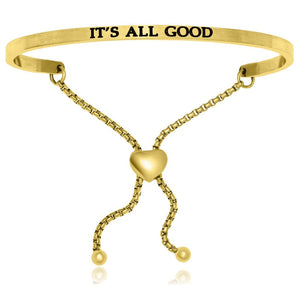 Yellow Stainless Steel Its All Good Adjustable Bracelet Stainless Steel Bangles