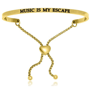 Yellow Stainless Steel Music Is My Escape Adjustable Bracelet Stainless Steel Bangles