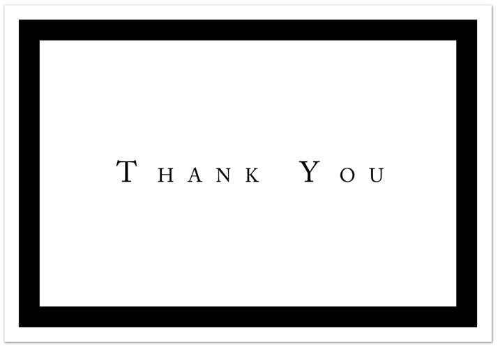 "65 lb Formal Black Thank You Note, measure (3.375"" x 4.875"") , compatible with copier,inkjet and laser , matte both sides"