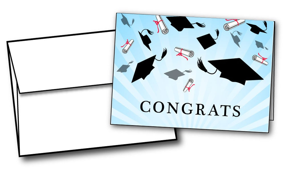 Graduation Caps Congrats Cards - 24 Cards & Envelopes