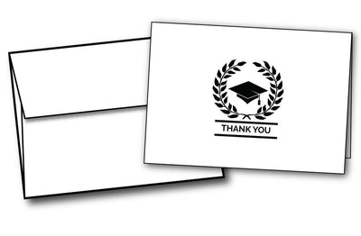 laurel crown academic school graduation thank you note cards envelopes