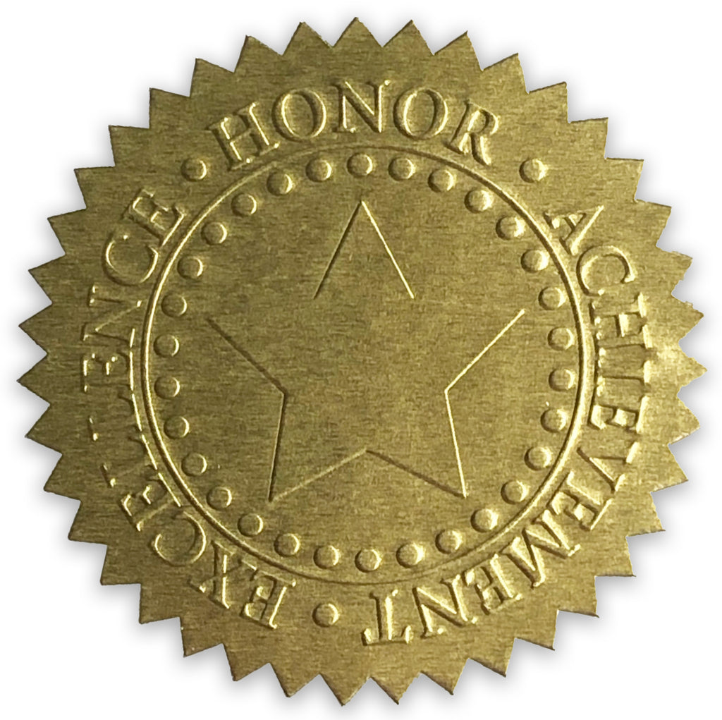 Embossed Gold Foil Seals | Certificate Sticker