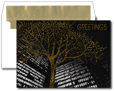 City Building w/ Tree Lights Imprintable Holiday Cards & Envelopes - 16 Sets