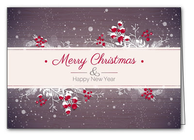 frosted holly & berries christmas xmas holiday cards merry christmas & happy new year cards
