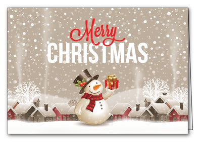 snowman and town ornaments christmas xmas holiday cards merry christmas & happy new year cards