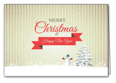 snowman & tree christmas xmas holiday cards merry christmas & happy new year cards