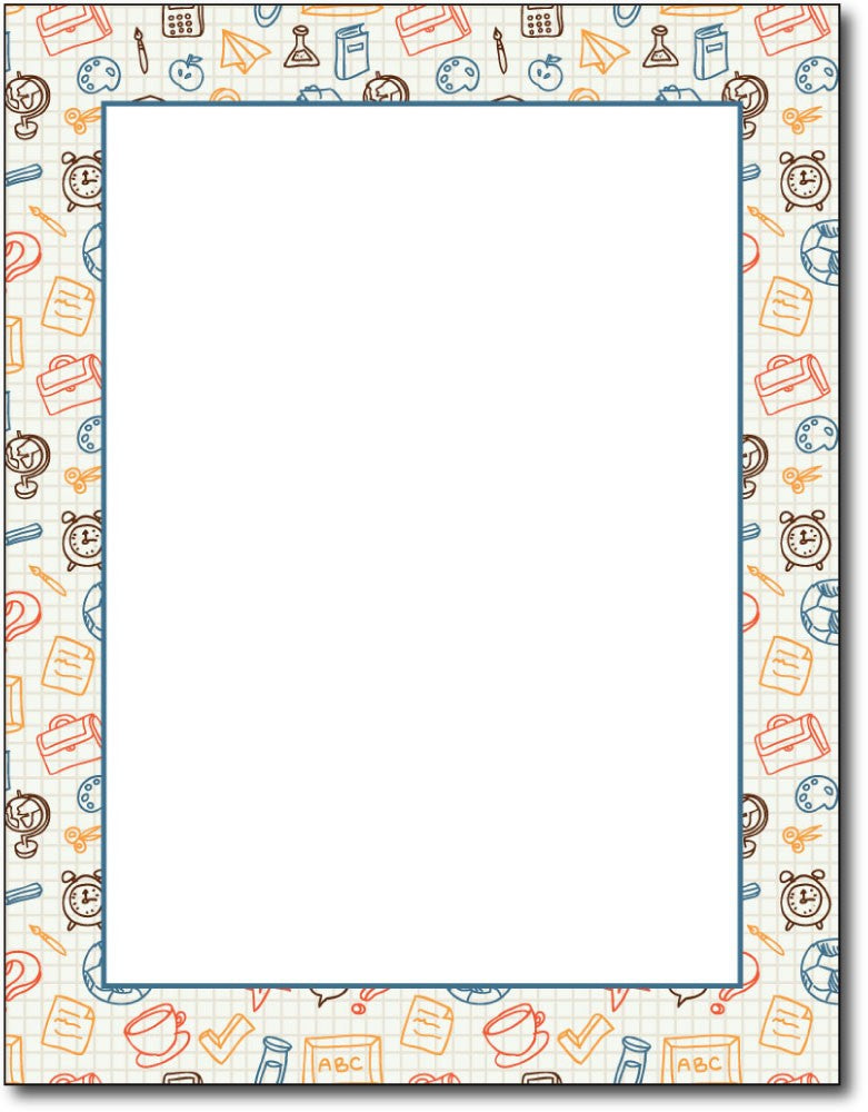 "50lb School Border Stationery, measure(8 1/2"" x 11""), compatible with inkjet and laser"