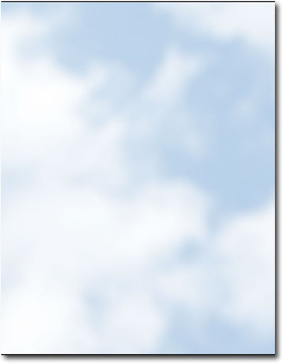 "Soft Clouds Stationery, measure(8 1/2"" x 11""), compatible with inkjet and laser"