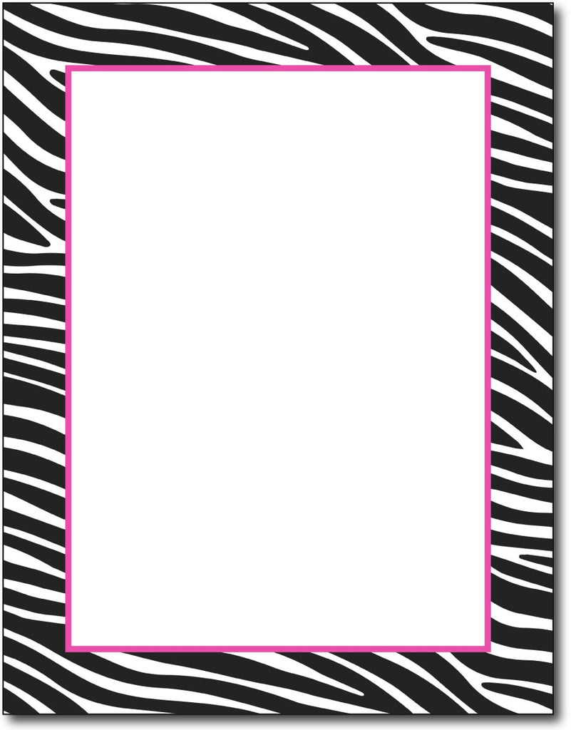 black & white zebra border design with fuchsia / pink accent. Printed on 24lb bond paper. Works with inkjet or laser printers