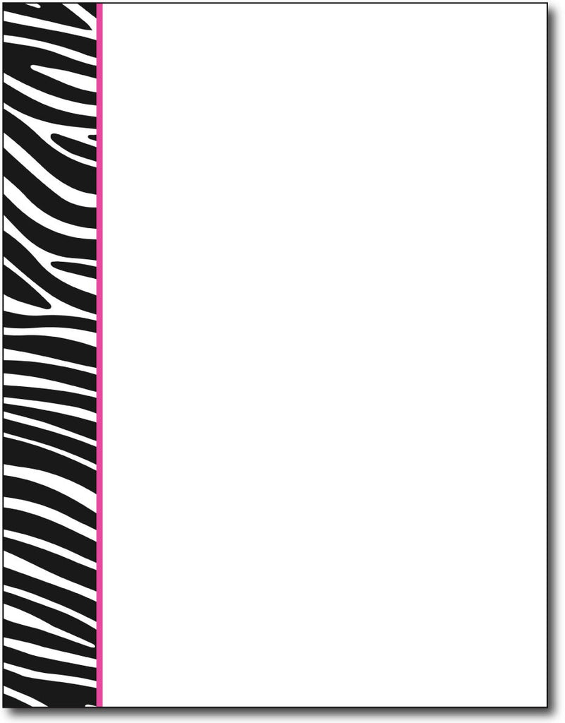 black & white zebra stripe design with fuchsia / pink accent. Printed on 24lb bond paper. Works with inkjet or laser printers