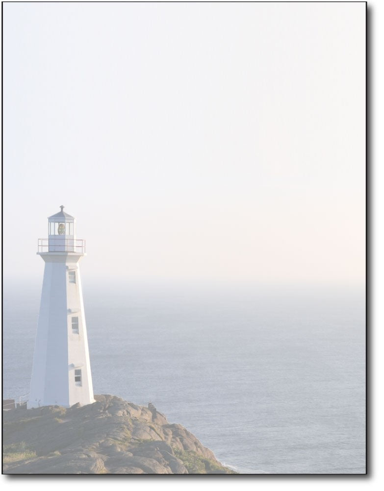 light house ocean cliff stationery paper letterhead sheets