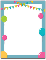 Birthday Balloons Party Stationery