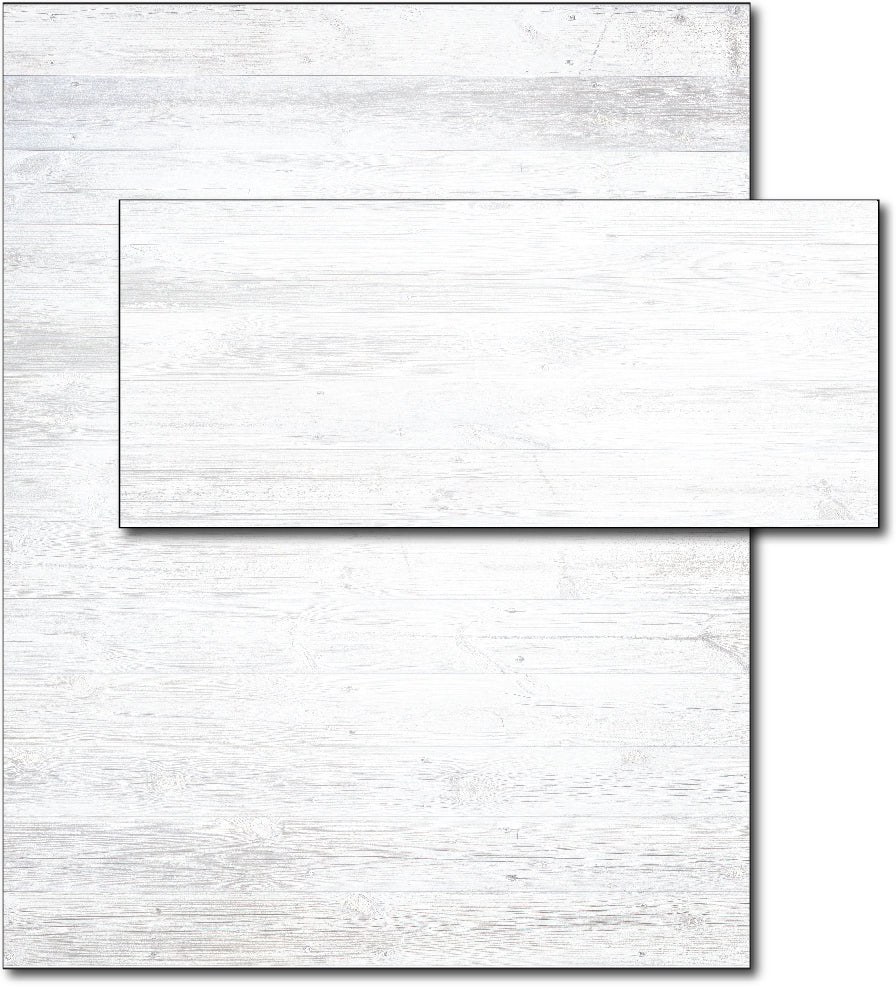 Letterhead with Envelope | White Wood Background