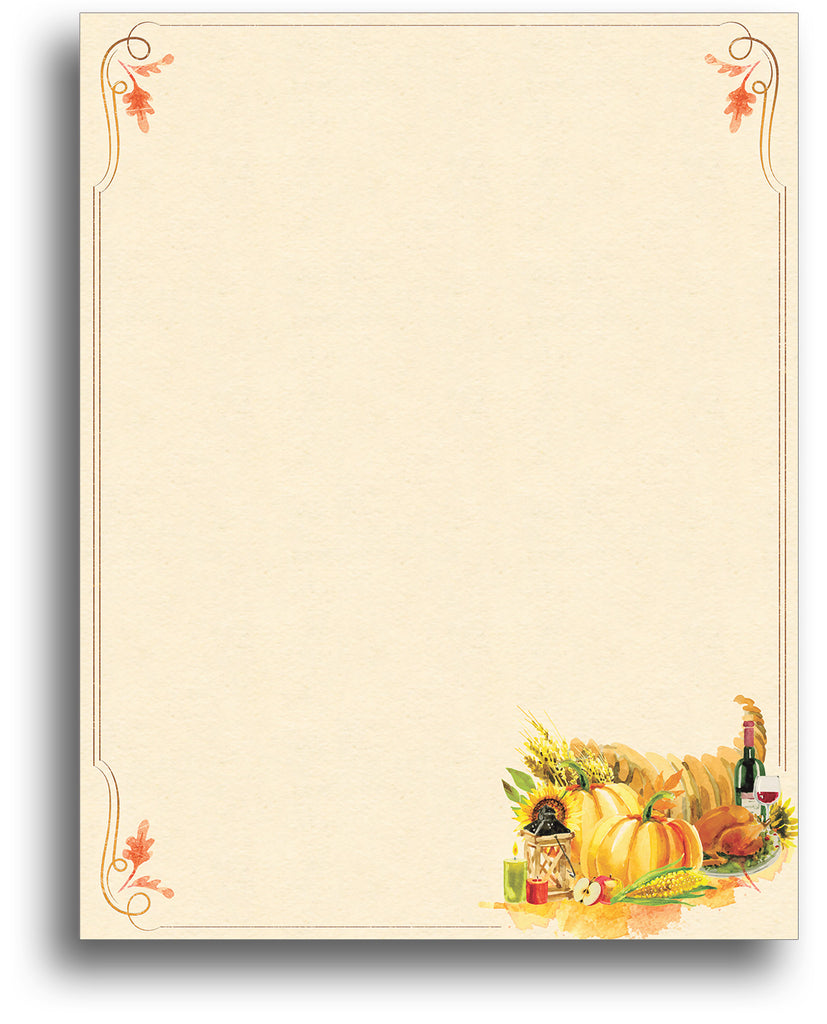 Painted Cornucopia - Fall Stationery - 80 Sheets