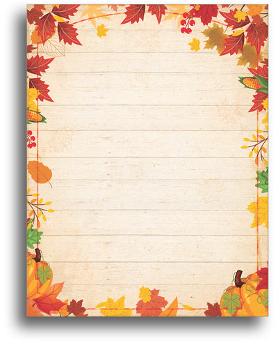 Fall Barnyard Leaves - Autumn Letterhead - 80 Sheets