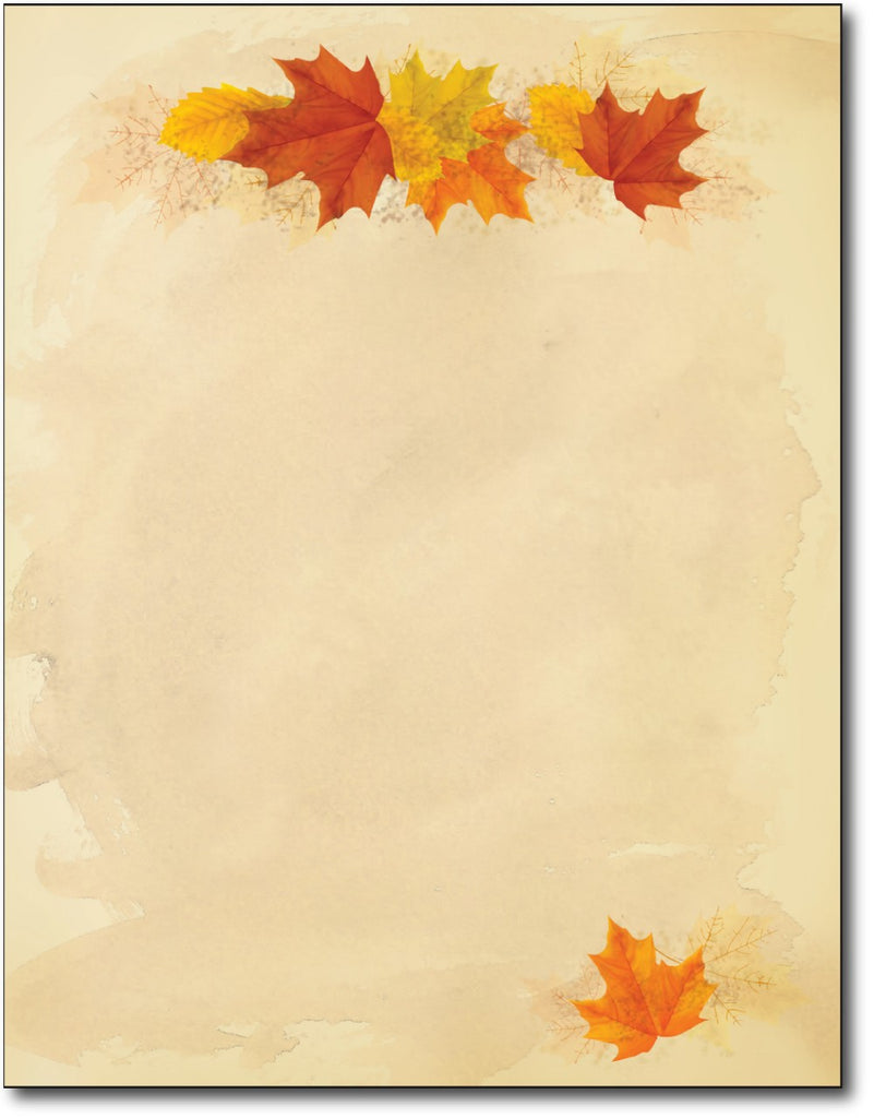 "Simple Fall Leaves Stationery Paper, measure(8 1/2"" x 11""), compatible with inkjet and laser"