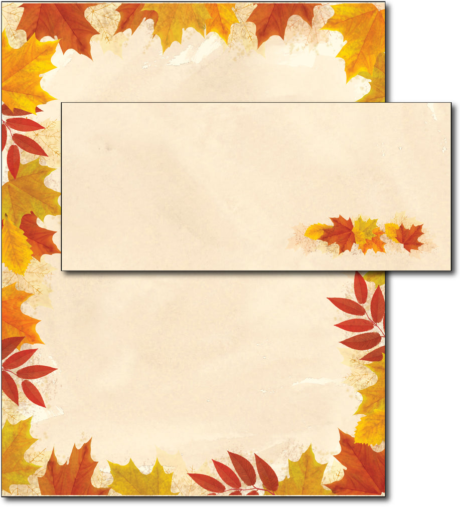 Autumn Leaves Border Fall Paper & Envelopes