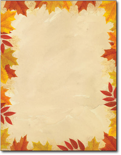 "Autumn Leaves Border Stationery Paper , measure(8 1/2"" x 11""), compatible with inkjet and laser"
