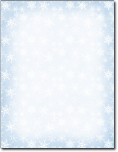 "Blue Snowflakes Holiday Letterhead , measure(8 1/2"" x 11""), compatible with inkjet and laser"