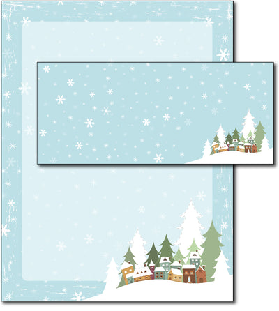 Christmas Stationery - Winter Village - (With Envelopes)