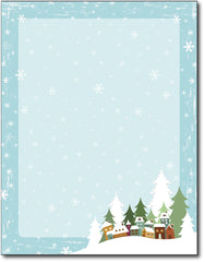 "Winter Village Holiday Stationery, measure(8 1/2"" x 11""), compatible with inkjet and laser"