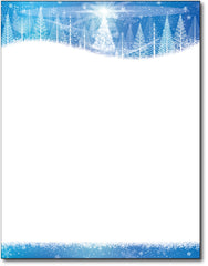 "Icy Blue Trees Holiday Stationery, measure(8 1/2"" x 11""), compatible with inkjet and laser"